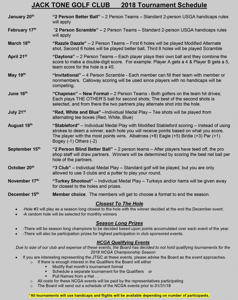 JTGC - Tournament Schedule 2018 - Webpage